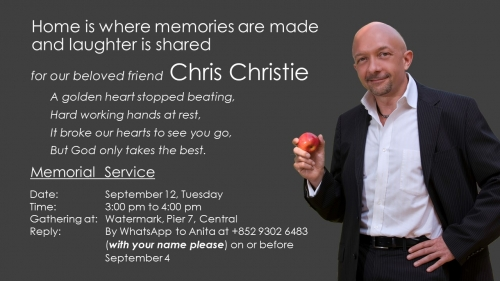 Memorial Service for Beloved Chef Chris Christie with Family & Friends